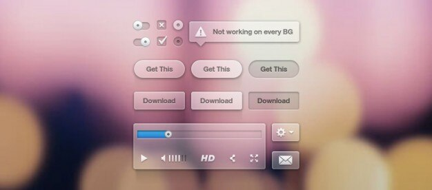 Button radio tool tip ui user interface video player Free Psd