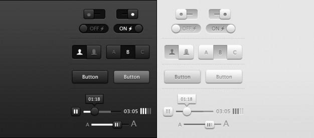 Buttons dark grey light sliders toggles ui Free Psd