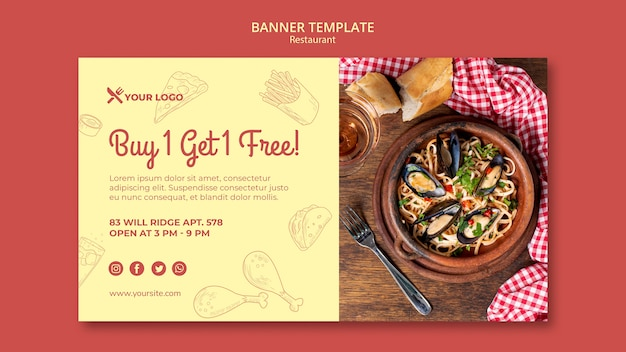 Buy 1 get 1 free banner template for restaurant Free Psd