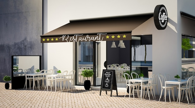 Макет фасада кафе с элементами брендинга Premium Psd