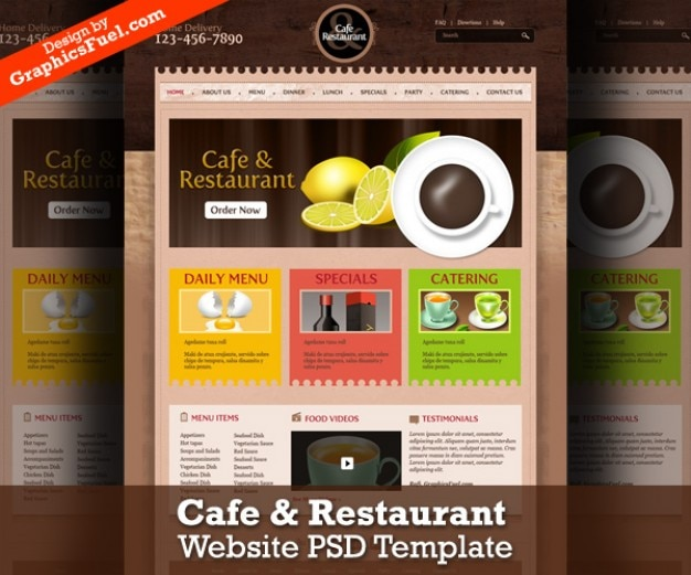 Cafe restaurant website psd template file free