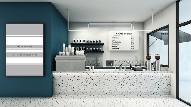 Cafe shop banner in 3d render mockup Premium Psd