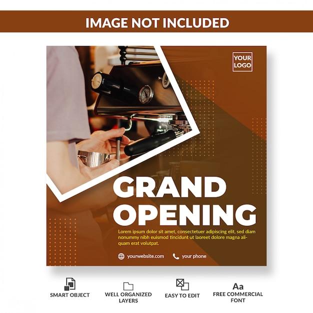 Cafe shop grand opening social media flyer square Premium Psd