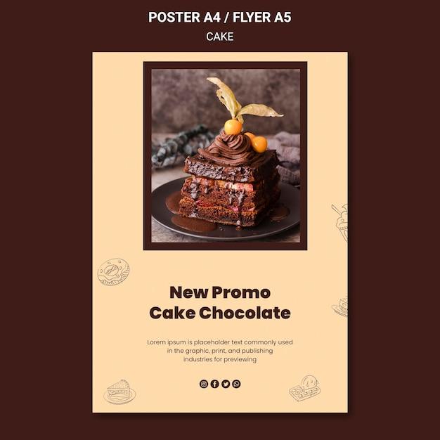 ケーキチョコレート新店ポスターテンプレート 無料 Psd