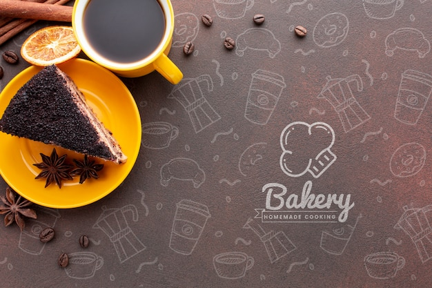 Cake coffee and dried orange with mock-up Free Psd