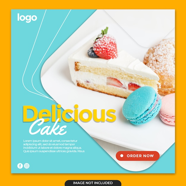 Торт instagram баннер пост Premium Psd