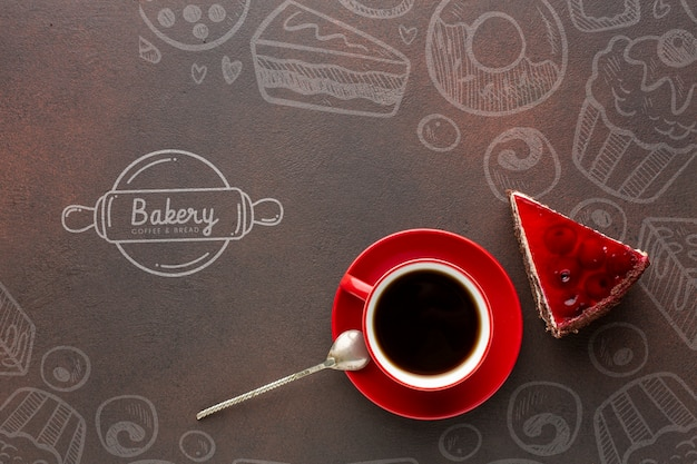 Cake slice and black coffee with mock-up Free Psd