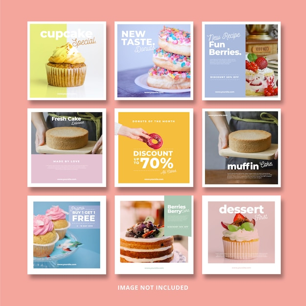 Cakes and sweet food social media banner instagram template Premium Psd