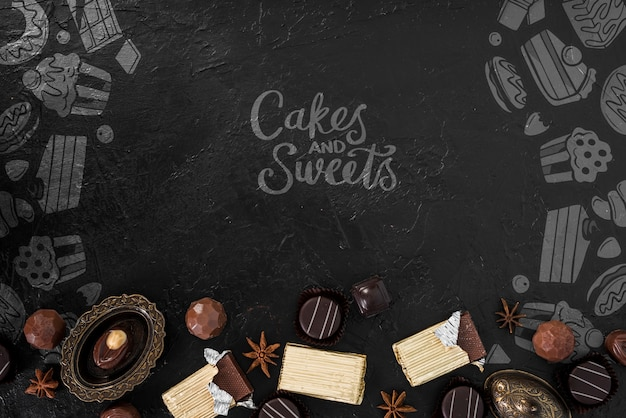 Cakes and sweets doodles with candies Free Psd