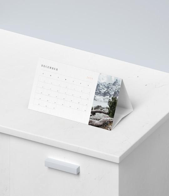 Концепция календаря в макете из картона Бесплатные Psd