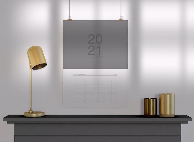 Мокап календаря, висящий на стене Premium Psd
