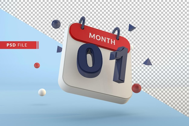 Calendar number 1 isolated template 3d render