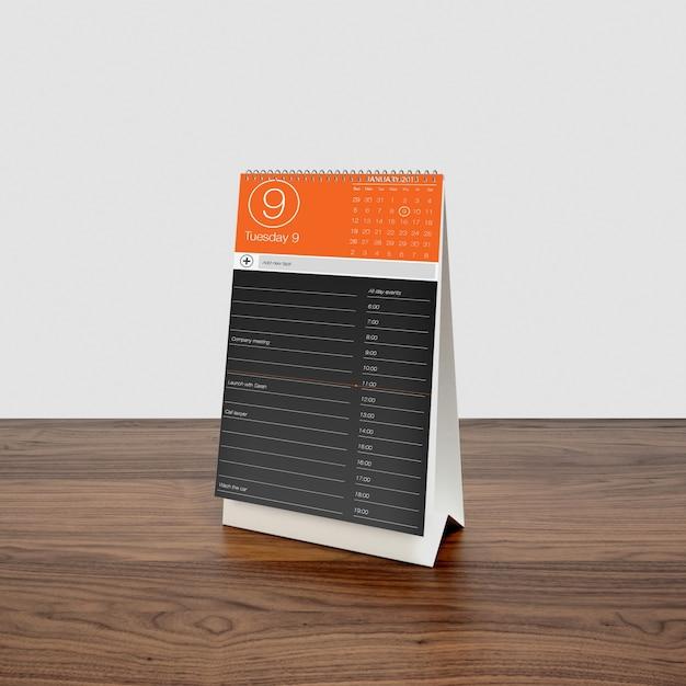 木製デスクトップのカレンダー Premium Psd