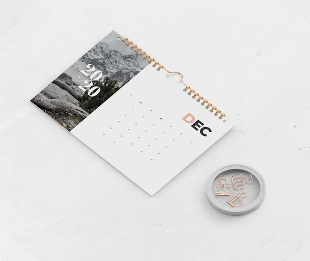 Calendar put together on book spiral link Free Psd