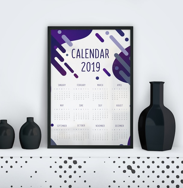 Calendar with liquid effect template Free Psd
