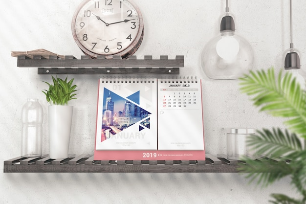 Calendar with pages for entries mockup Premium Psd
