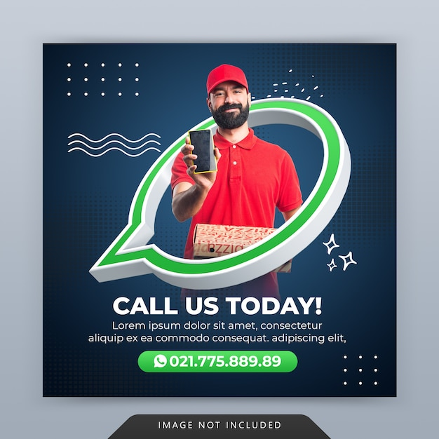 Call us creative concept promotion for instagram post template