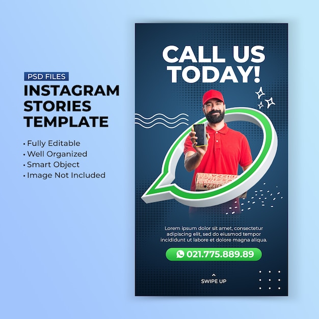 Call us creative concept promotion instagram story template