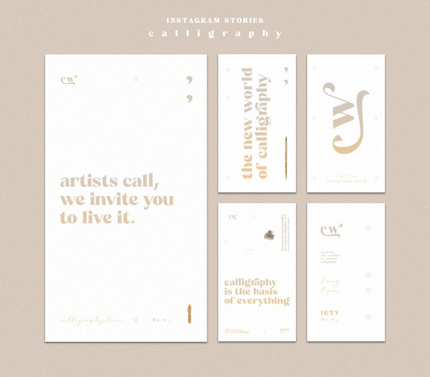 Calligraphy instagram stories Free Psd