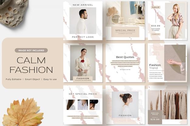 Calm fashion social media instagram post template