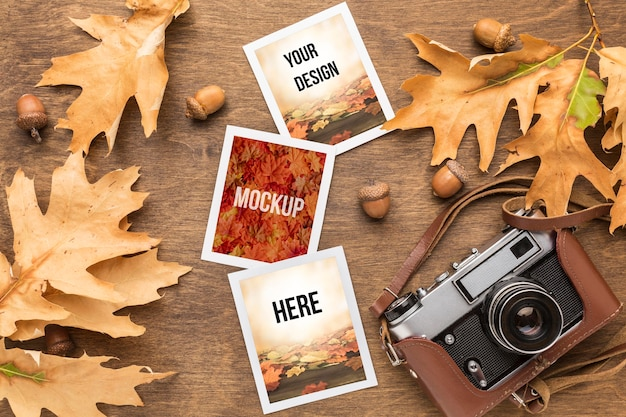 Camera and photos with autumn leaves Free Psd