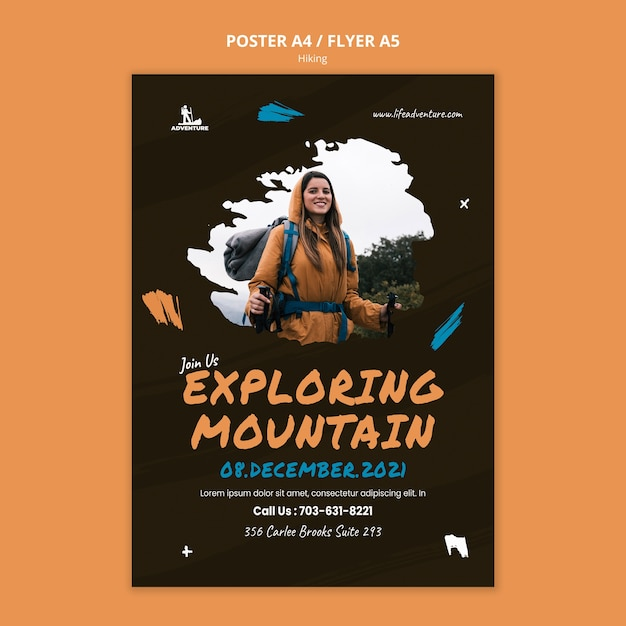 Camping and hiking flyer template Free Psd
