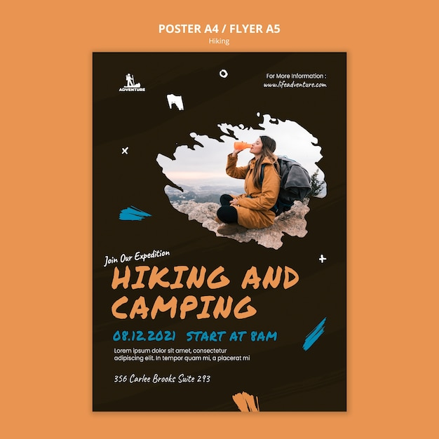 Camping and hiking poster template Free Psd