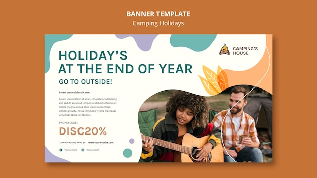 Camping holidays ad banner template Free Psd