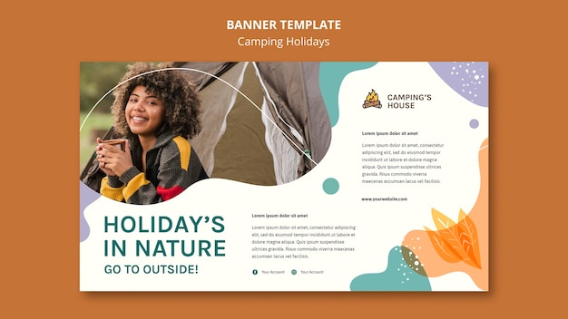 Camping holidays ad template banner Free Psd