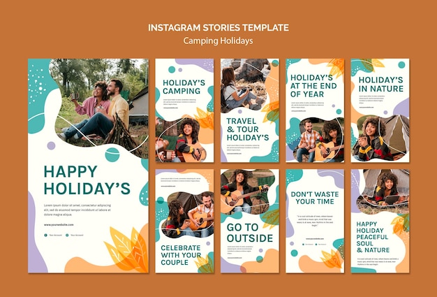 Camping holidays instagram stories template Premium Psd