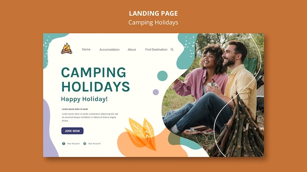 Camping holidays landing page template Premium Psd
