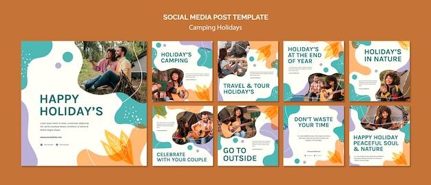 Camping holidays social media post template Premium Psd