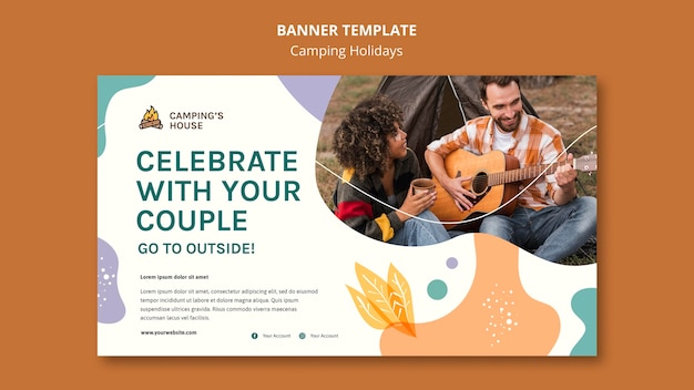 Camping holidays template banner Free Psd