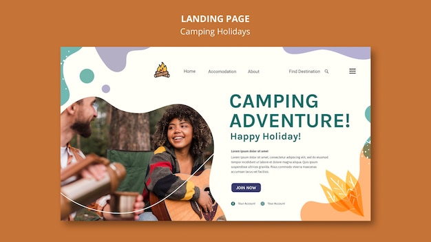 Camping holidays template landing page Free Psd