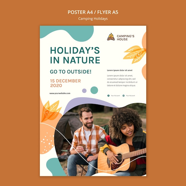 Camping holidays template poster Free Psd
