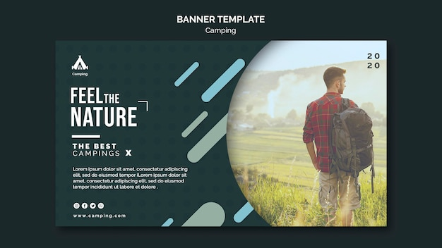 Camping place ad banner template Free Psd