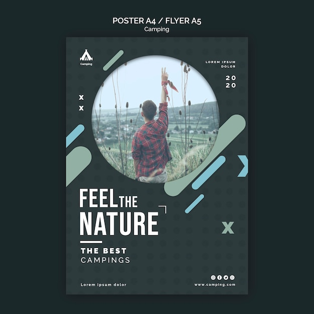 Camping place flyer template Free Psd