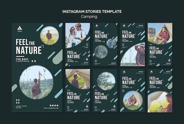 Camping place instagram stories template Premium Psd