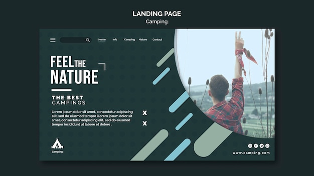 Camping place landing page template Free Psd