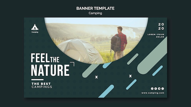 Camping place template banner Free Psd