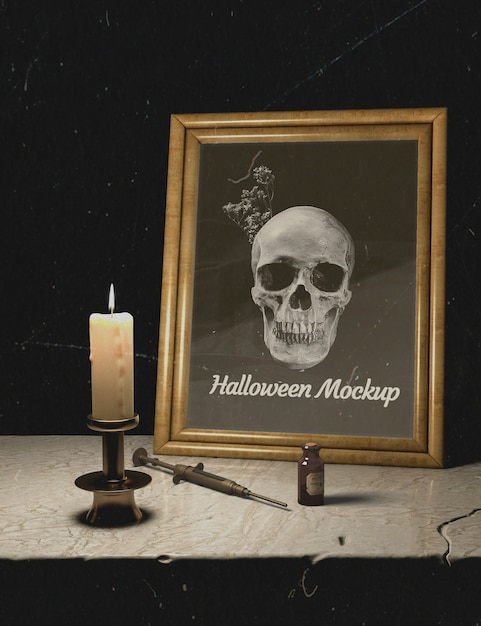 Candles and halloween mock-up frame with skull Free Psd
