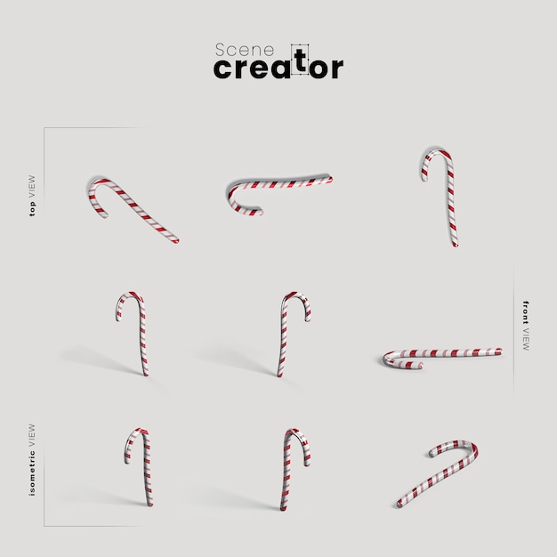 Candy cane variety angles christmas scene creator Free Psd