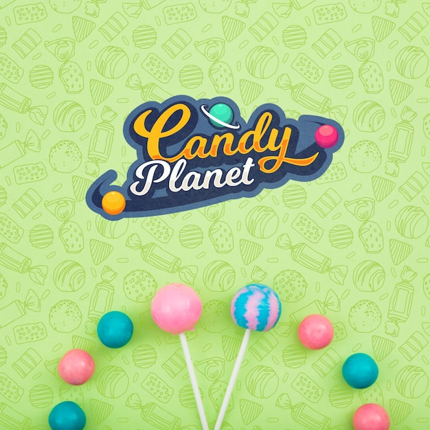 Candy planet and assortment of lollipops Free Psd