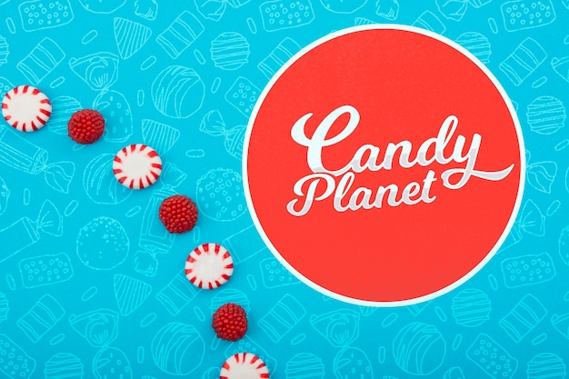 Candy planet shop minimalist logo Free Psd
