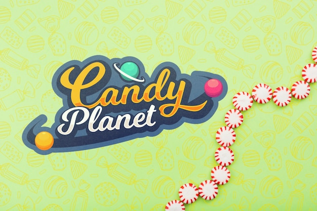 Candy planet shop with candy drops Free Psd