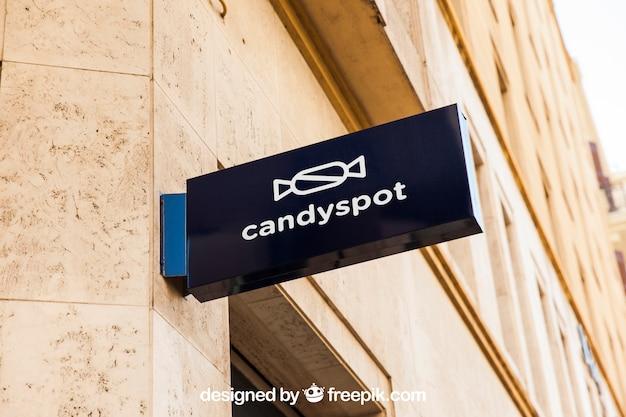 Candy shop sign mockup Premium Psd