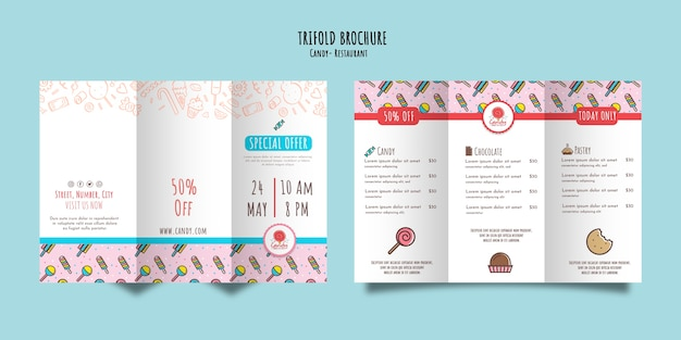 Candy shop template for brochure Free Psd