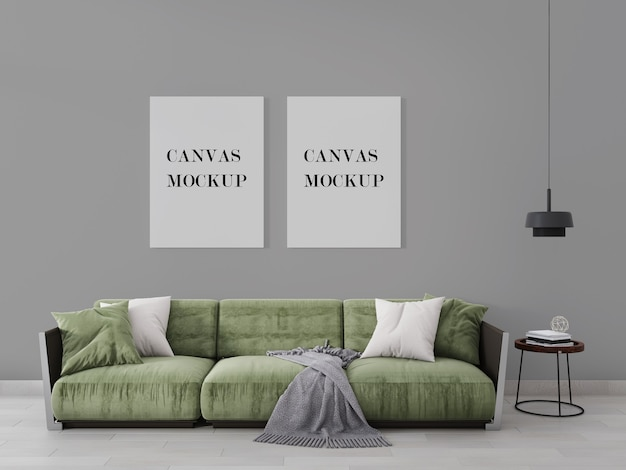 Canvas mockup above modern green armchair in 3d visualization Premium Psd