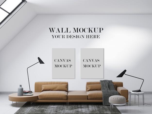 현대 거실의 캔버스 및 벽 모형 프리미엄 PSD 파일
