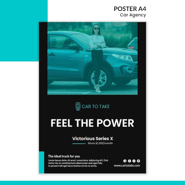 Car agency ad poster template Free Psd
